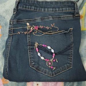 Jeans, Bracelet, Necklace